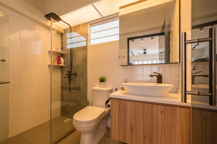 Industrial Touch Meter Square Pte Ltd Industrial style bathroom Tiles White