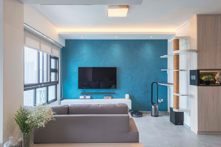 Blue Scandinavian Meter Square Pte Ltd Scandinavian style living room Tiles White