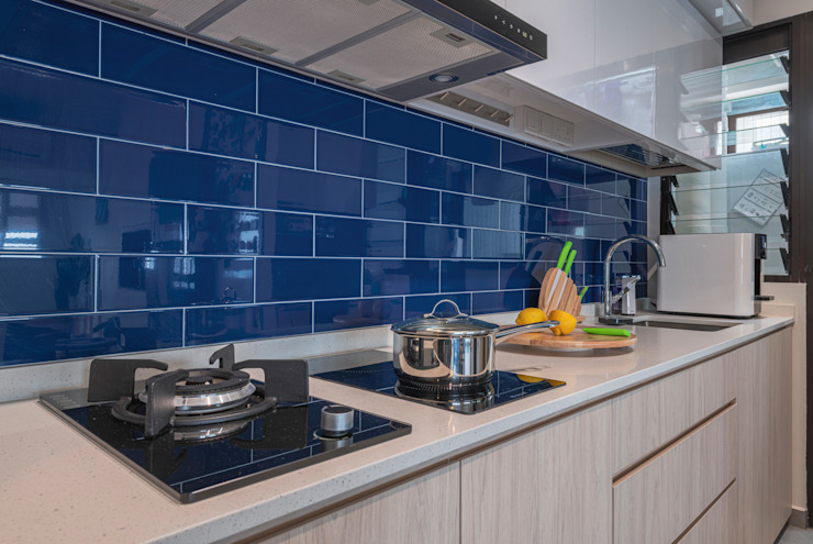 Blue Scandinavian Meter Square Pte Ltd Scandinavian style kitchen Tiles Multicolored