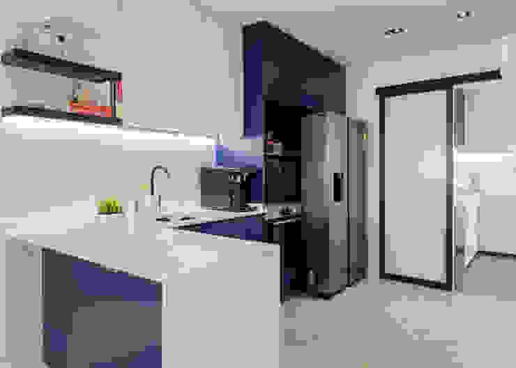 Modern Contemporary in Bleen Scandinavian style kitchen by Meter Square Pte Ltd Scandinavian Wood Wood effect