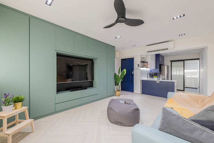 Modern Contemporary in Bleen Scandinavian style living room by Meter Square Pte Ltd Scandinavian Wood Wood effect