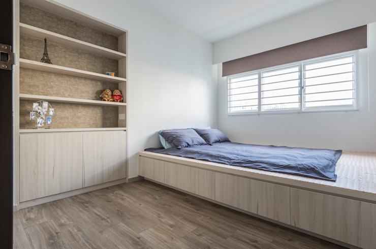 Modern Indochine Modern style bedroom by Meter Square Pte Ltd Modern Wood Wood effect