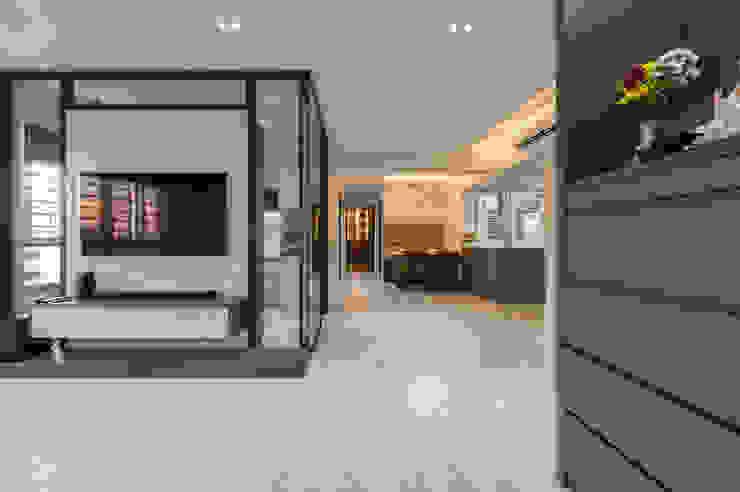 Modern Indochine Meter Square Pte Ltd Modern corridor, hallway & stairs Tiles White