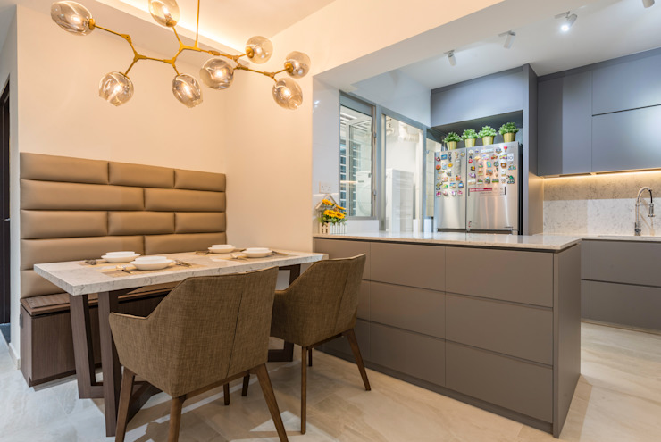 Modern Indochine Modern dining room by Meter Square Pte Ltd Modern Tiles