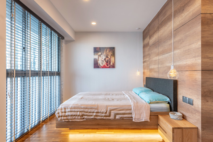 Meter Square Pte Ltd Camera da letto in stile scandinavo Legno Variopinto
