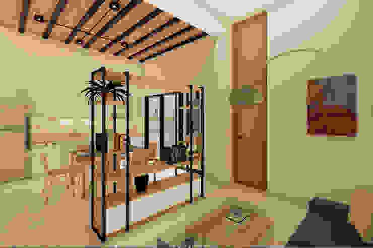 D4-Arquitectos Modern living room Wood White