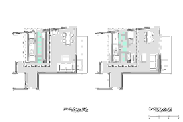 Departamento Bustamante - Planta Antes y Después de D4-Arquitectos Moderno