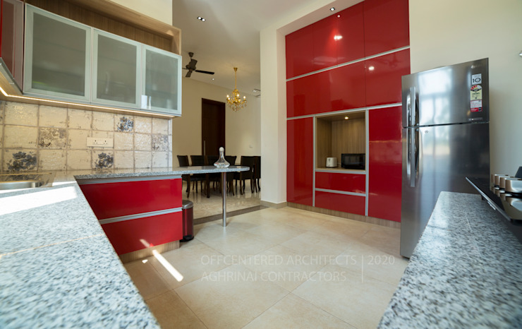 Customised modular kitchen interiors Offcentered Architects Kitchen units Plywood Red
