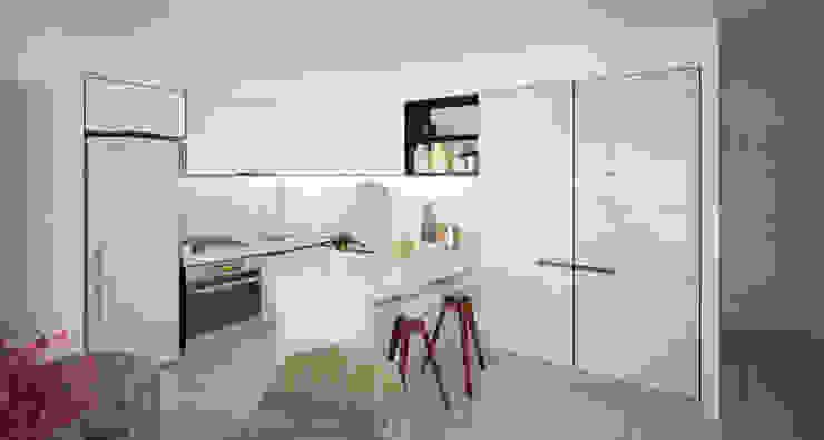 Departamento Bellini - Cocina / Comedor Cocinas modernas: Ideas, imágenes y decoración de D4-Arquitectos Moderno Madera Acabado en madera