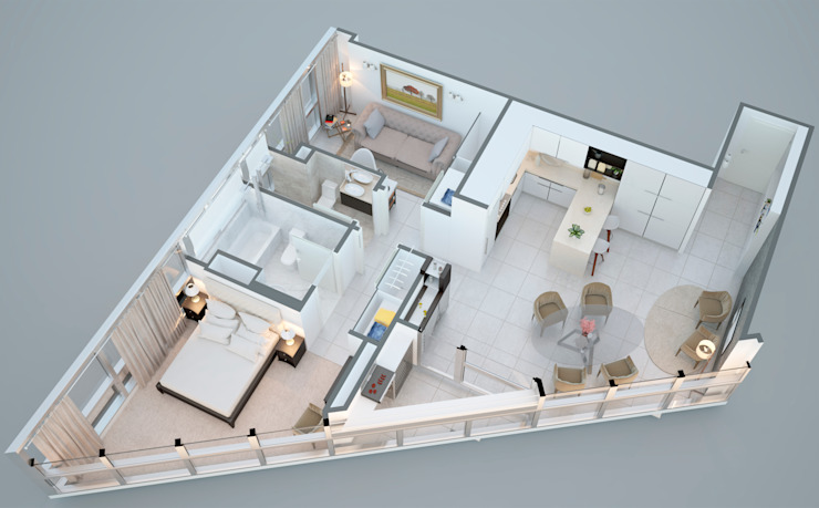 Departamento Bellini - Render general de D4-Arquitectos Moderno