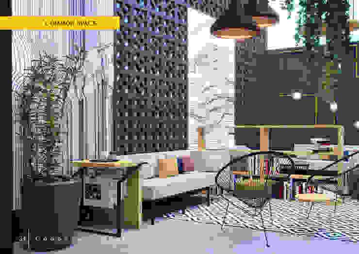 Phòng sinh hoạt chung: hiện đại  by LAGOM STUDIO BOX, Hiện đại