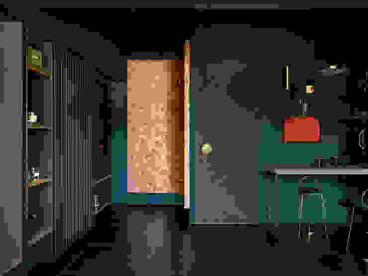 在家躺好 ft.老婆視角 現代風玄關、走廊與階梯 根據 漢玥室內設計 現代風