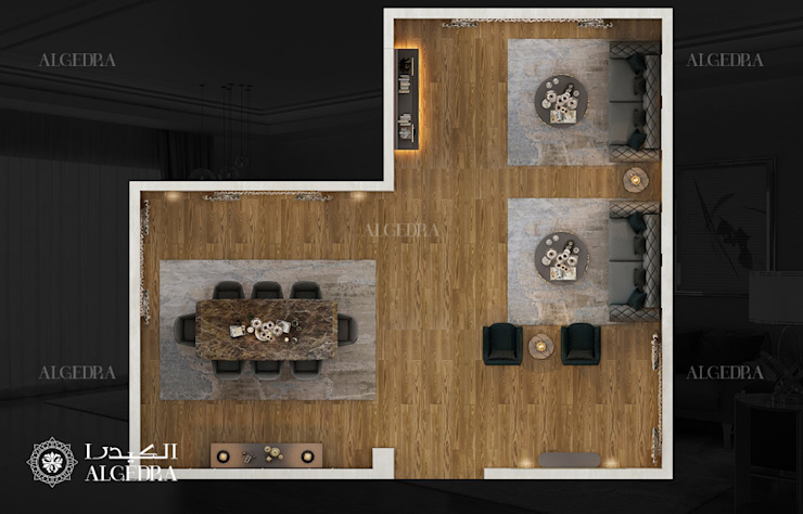 Small villa in Abu Dhabi living room plan Modern living room by Algedra Interior Design Modern