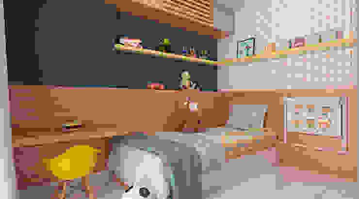 Quarto de menino Michelle Madeu Arquitetura e Interiores Quarto infantil moderno Madeira Azul
