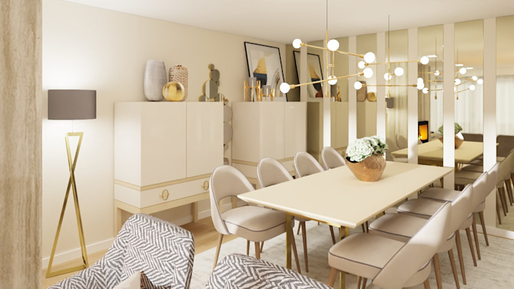 Projeto 3D Salas de jantar modernas por Ossoyo Moderno