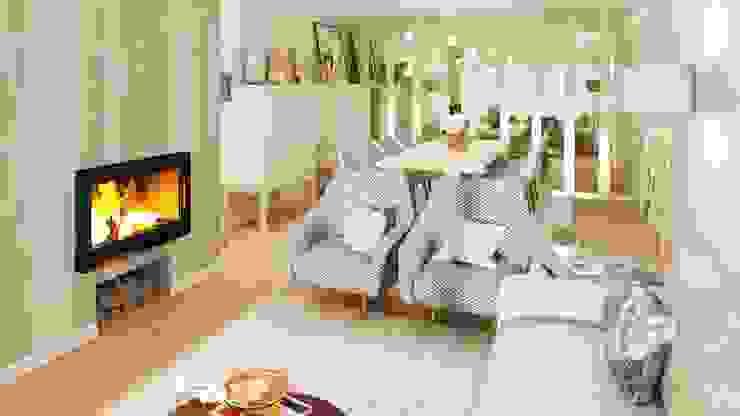 Projeto 3D Salas de estar modernas por Ossoyo Moderno