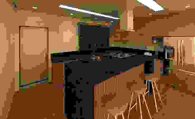 Cozinha moderna e espaçosa Rita Costa Arquitetura e Interiores Armários de cozinha Granito Acabamento em madeira