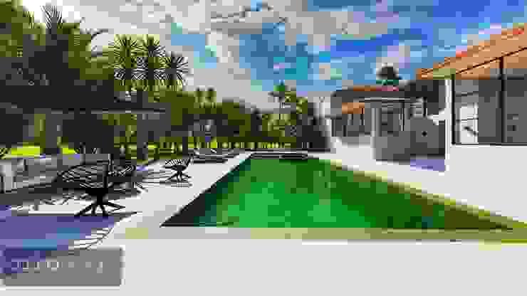 Área da piscina e convivência por Aadna.Design Moderno