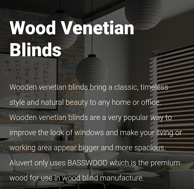 Wooden Venetian Blinds: modern  by Bespoke Blinds & Curtains Decor Studio, Modern