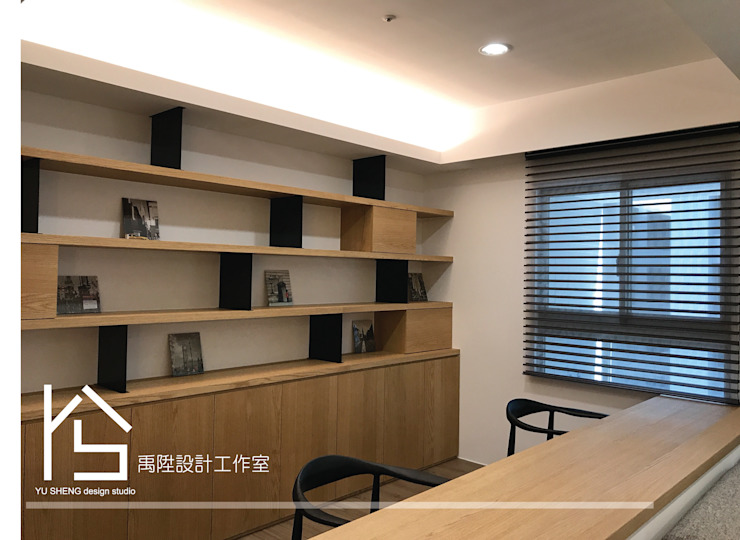 Modern Study Room and Home Office by 禹陞設計工作室 Modern Solid Wood Multicolored