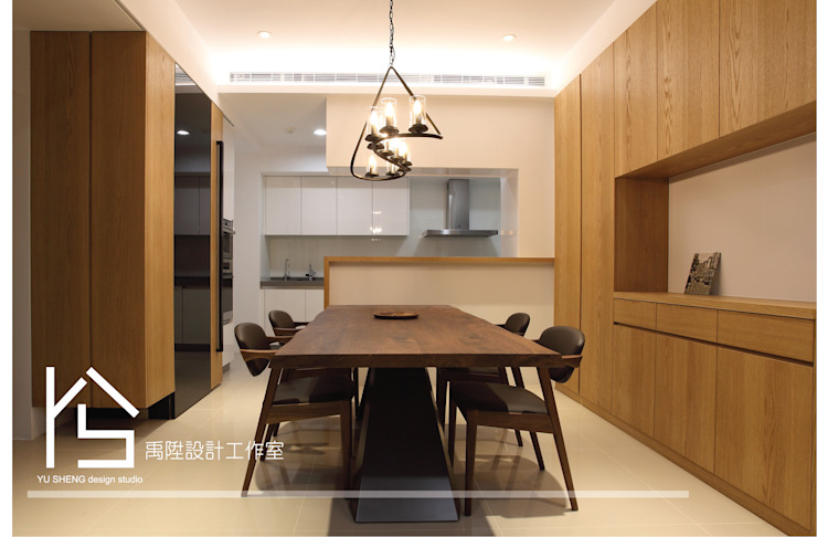 Modern Dining Room by 禹陞設計工作室 Modern Solid Wood Multicolored