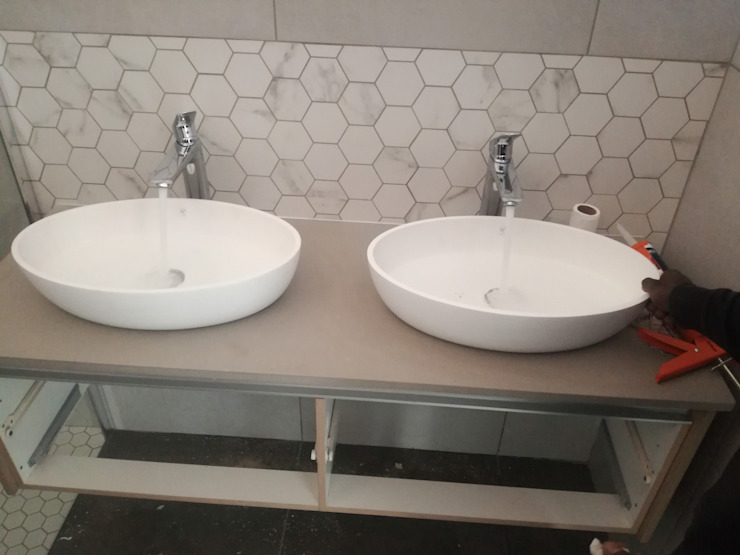 Double Handbasins Afrisom Projects Pty Ltd Modern bathroom