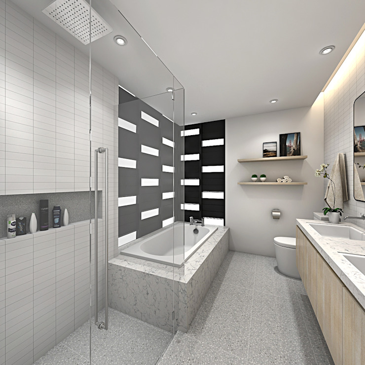 FIVE STONES CONDOMINIUM Scandinavian style bathrooms by Simsan Design Scandinavian