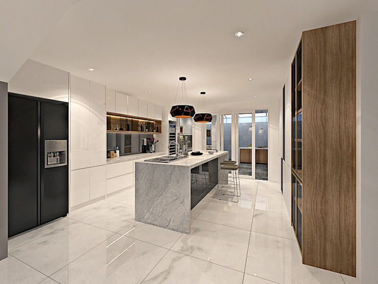 SRI PETALING 149K RESIDENCE Modern style kitchen by Simsan Design Modern