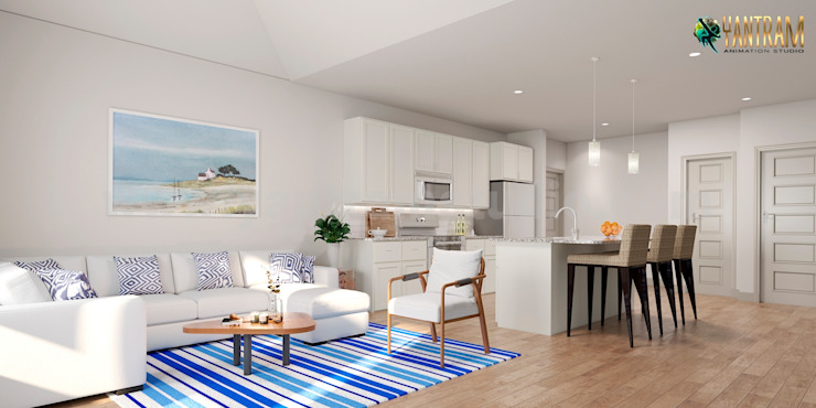3D Interior Modeling with Photo realistic modern render living area design ideas by Architectural Animation Studio Yantram Architectural Design Studio Modern living room