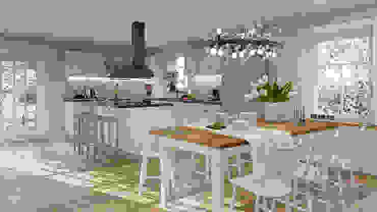 Esszimmer mit Küche. Projekt mit Visualisierung Esszimmer im Landhausstil von MITKO DESIGN Landhaus