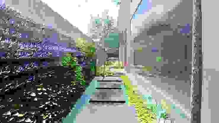 pasillo y muro verde Verde Lavanda Jardines modernos