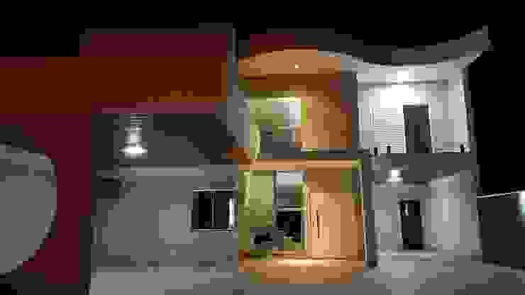 Fachada noturna Casas modernas por Monteiro arquitetura e interiores Moderno