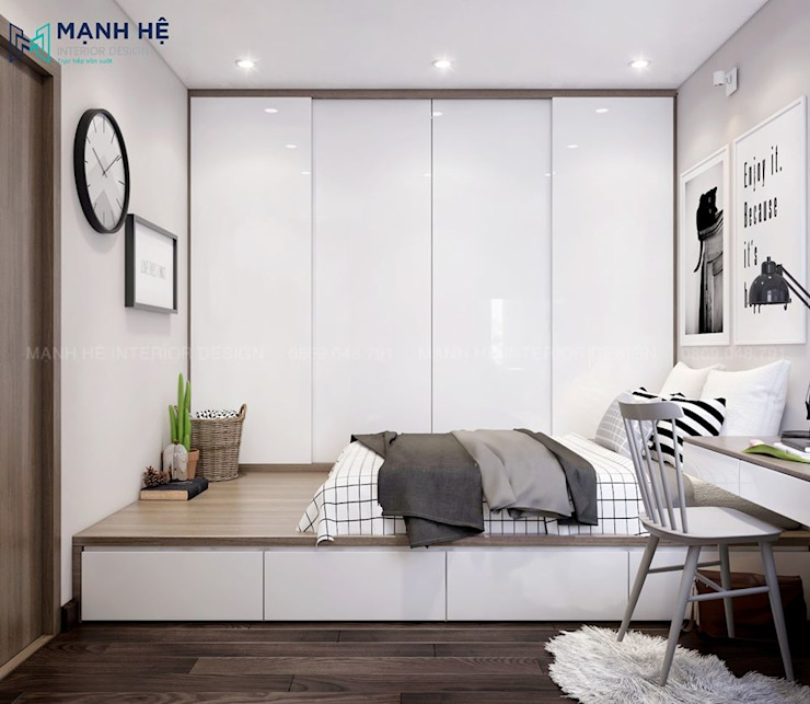 giường ngủ dạng bục: hiện đại  by Công ty TNHH Nội Thất Mạnh Hệ, Hiện đại
