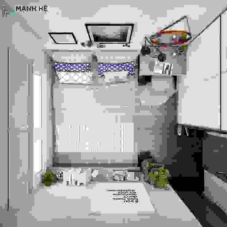 view phòng ngủ từ trên cao: hiện đại  by Công ty TNHH Nội Thất Mạnh Hệ, Hiện đại
