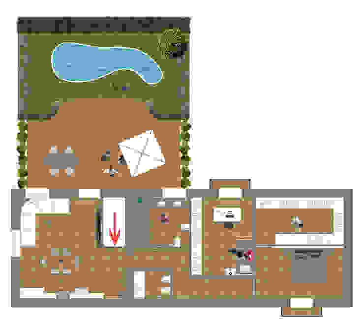 Ristrutturazione casa indipendente_pianta Balcone, Veranda & Terrazza in stile minimalista di antonio felicetti architettura & interior design Minimalista Legno Effetto legno