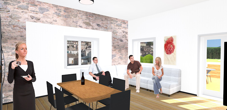 Ristrutturazione casa indipendente_soggiorno Sala da pranzo minimalista di antonio felicetti architettura & interior design Minimalista Legno Effetto legno