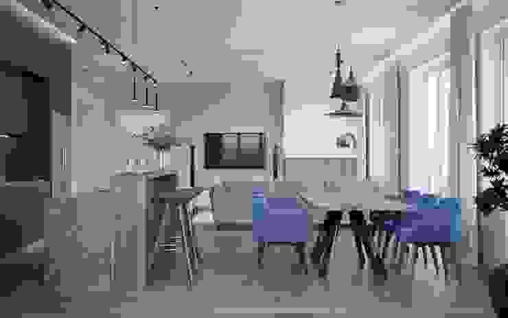 Кухня-столовая. Истра коттедж DoDesign Столовая комната в стиле минимализм