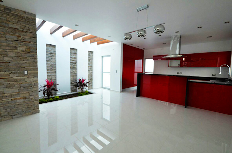 DosD Diseño y Construcción Comedores de estilo minimalista Compuestos de madera y plástico Rojo