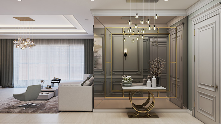 Living Area De Panache Modern living room Glass Beige