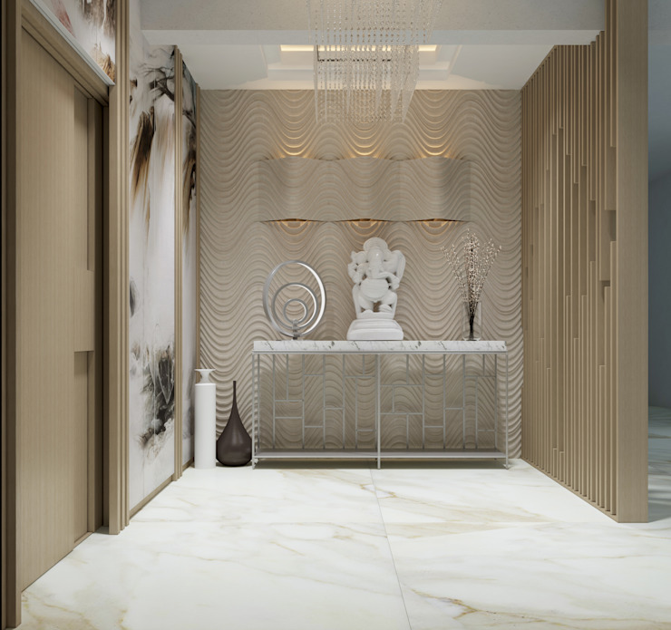 De Panache Pasillos, vestíbulos y escaleras modernos Mármol Blanco