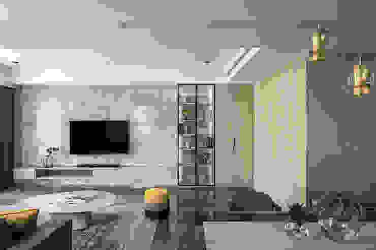 台中。築夢 现代客厅設計點子、靈感 & 圖片 根據 天埕設計 現代風 石板