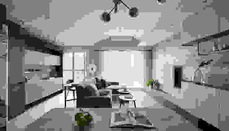 恬適清新沐光宅 譜寫兩人一貓的幸福生活 现代客厅設計點子、靈感 & 圖片 根據 千綵胤空間設計 現代風 石灰岩