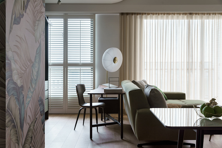 恬適清新沐光宅 譜寫兩人一貓的幸福生活 现代客厅設計點子、靈感 & 圖片 根據 千綵胤空間設計 現代風