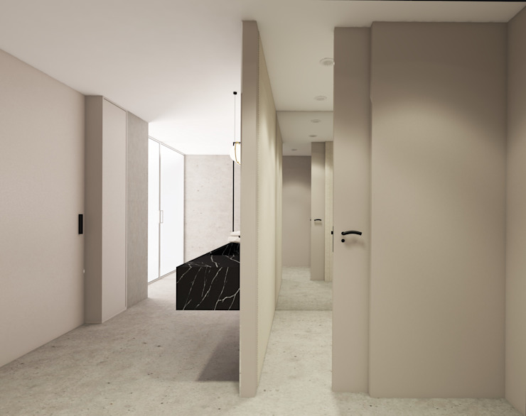 MIA arquitetos Modern corridor, hallway & stairs