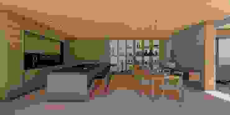 Comedor- cocina- biblioteca Cocinas modernas de Cóncavas Ingenieros y Arquitectos Moderno