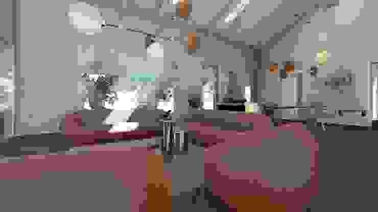 Scorcio del living Teresa Romeo Architetto Soggiorno moderno Legno massello Arancio
