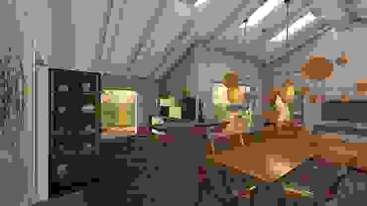 La zona cucina e pranzo di Teresa Romeo Architetto Moderno Legno Effetto legno