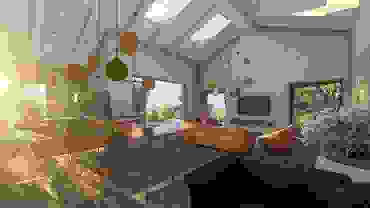 Scorcio del living Teresa Romeo Architetto Sala da pranzo moderna Plastica Ambra/Oro