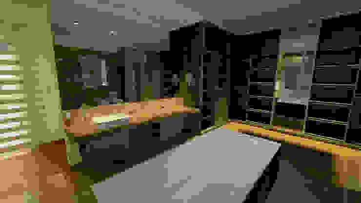 Aida tropeano& Asociados Salle de bain moderne Bois Ambre/Or