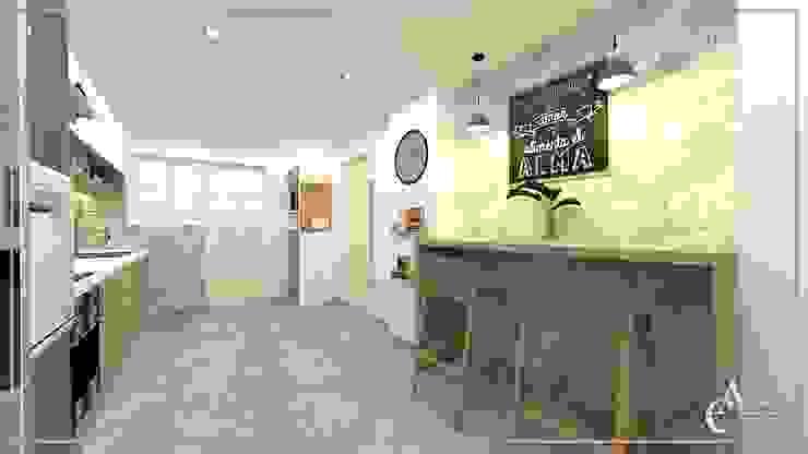 DISEÑO COCINA ✨ Arisu Cavero - Arquitectura de Interiores Cocinas pequeñas